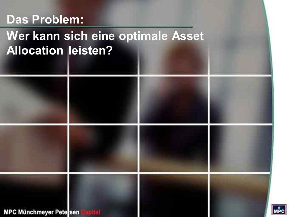 Das Problem: Wer kann sich eine optimale Asset Allocation leisten