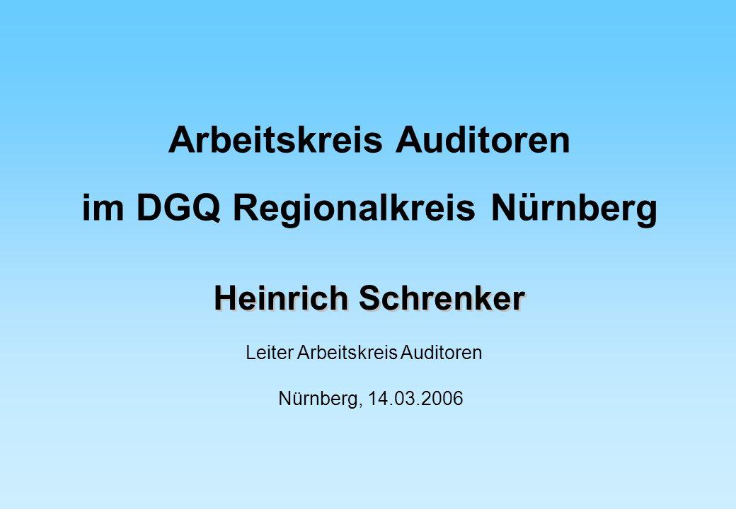 Heinrich Schrenker Leiter Arbeitskreis Auditoren Nürnberg, 14.03.2006 Arbeitskreis Auditoren im DGQ Regionalkreis Nürnberg