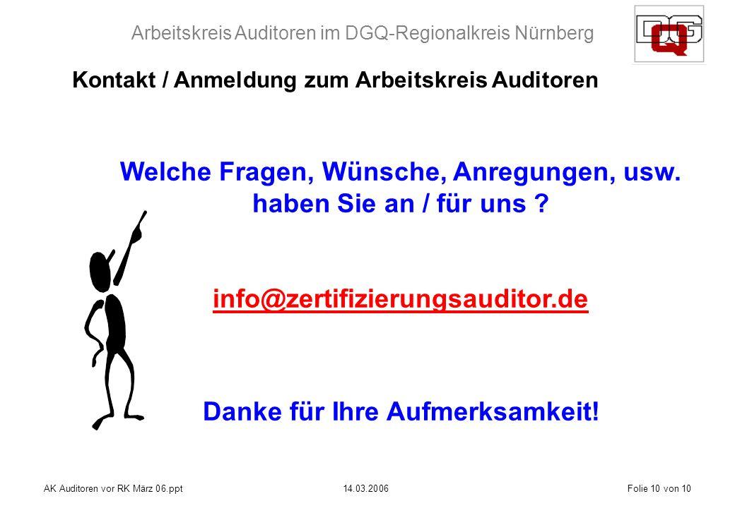 Arbeitskreis Auditoren im DGQ-Regionalkreis Nürnberg AK Auditoren vor RK März 06.ppt14.03.2006Folie 10 von 10 Welche Fragen, Wünsche, Anregungen, usw.