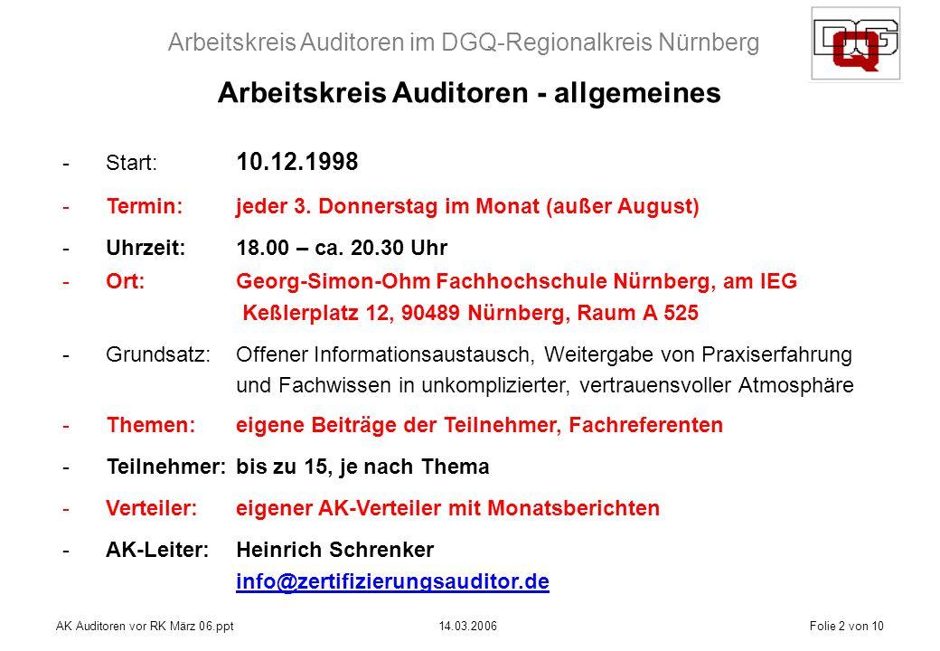 Arbeitskreis Auditoren im DGQ-Regionalkreis Nürnberg AK Auditoren vor RK März 06.ppt14.03.2006Folie 2 von 10 Arbeitskreis Auditoren - allgemeines -Start: 10.12.1998 -Termin:jeder 3.