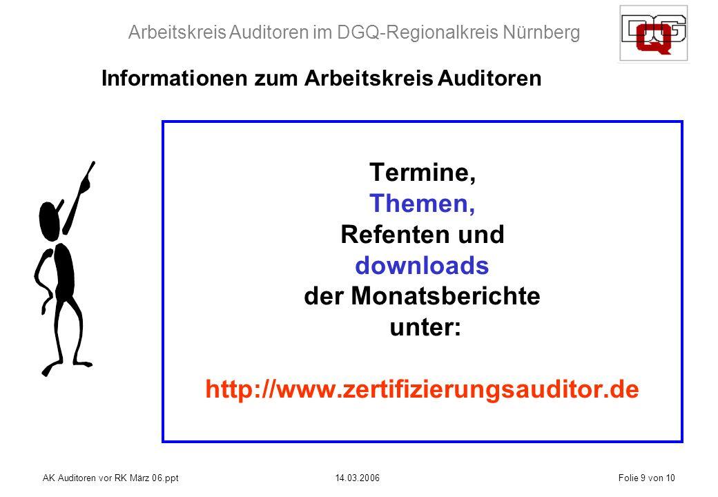 Arbeitskreis Auditoren im DGQ-Regionalkreis Nürnberg AK Auditoren vor RK März 06.ppt14.03.2006Folie 9 von 10 Termine, Themen, Refenten und downloads der Monatsberichte unter: http://www.zertifizierungsauditor.de Informationen zum Arbeitskreis Auditoren