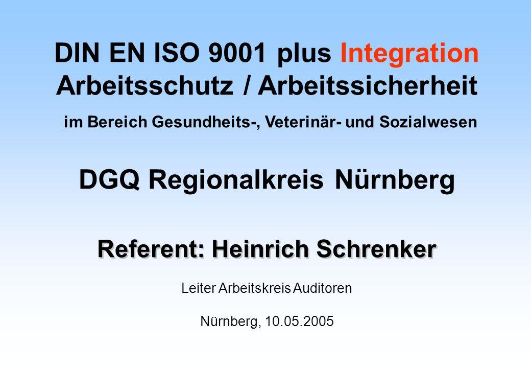 Referent: Heinrich Schrenker Leiter Arbeitskreis Auditoren Nürnberg, 10.05.2005 DIN EN ISO 9001 plus Integration Arbeitsschutz / Arbeitssicherheit im