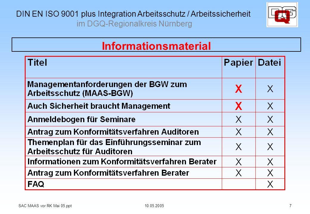 Informationsmaterial SAC MAAS vor RK Mai 05.ppt10.05.20057 DIN EN ISO 9001 plus Integration Arbeitsschutz / Arbeitssicherheit im DGQ-Regionalkreis Nür