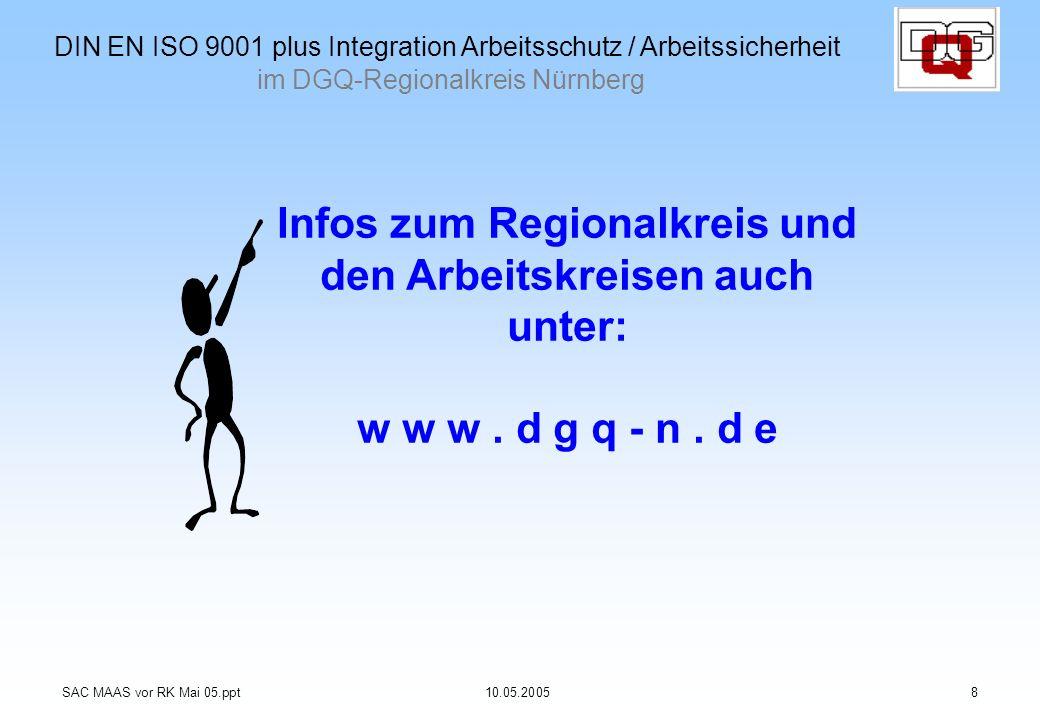 Infos zum Regionalkreis und den Arbeitskreisen auch unter: w w w. d g q - n. d e SAC MAAS vor RK Mai 05.ppt10.05.20058 DIN EN ISO 9001 plus Integratio