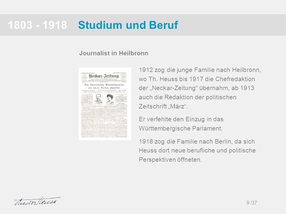 Studium und Beruf1803 - 1918 1912 zog die junge Familie nach Heilbronn, wo Th. Heuss bis 1917 die Chefredaktion der Neckar-Zeitung übernahm, ab 1913 a