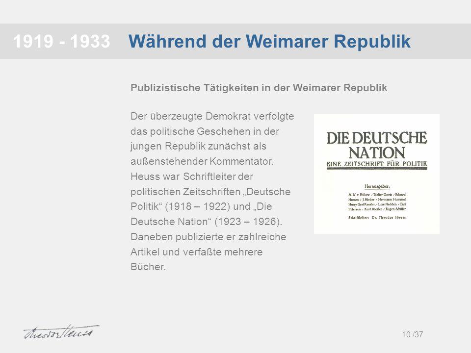 Während der Weimarer Republik1919 - 1933 Der überzeugte Demokrat verfolgte das politische Geschehen in der jungen Republik zunächst als außenstehender