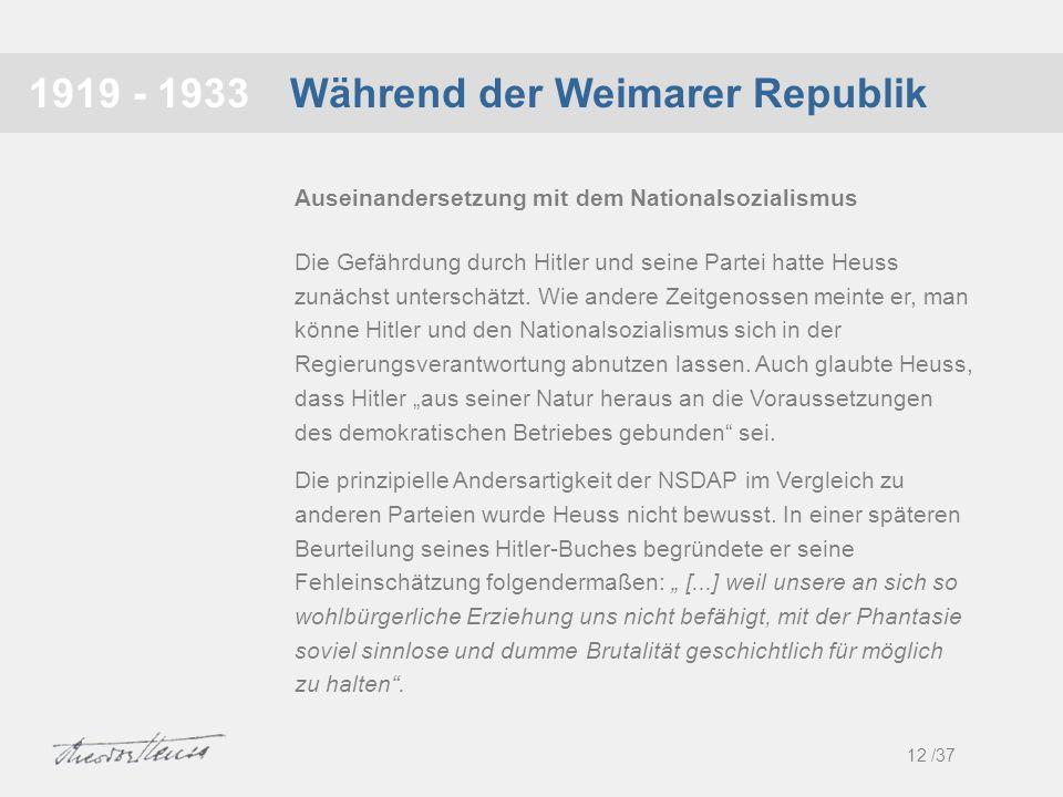 Während der Weimarer Republik1919 - 1933 Die Gefährdung durch Hitler und seine Partei hatte Heuss zunächst unterschätzt. Wie andere Zeitgenossen meint