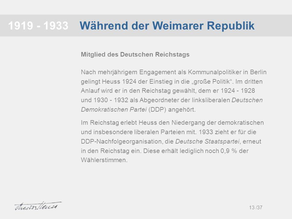 Während der Weimarer Republik1919 - 1933 Nach mehrjährigem Engagement als Kommunalpolitiker in Berlin gelingt Heuss 1924 der Einstieg in die große Pol