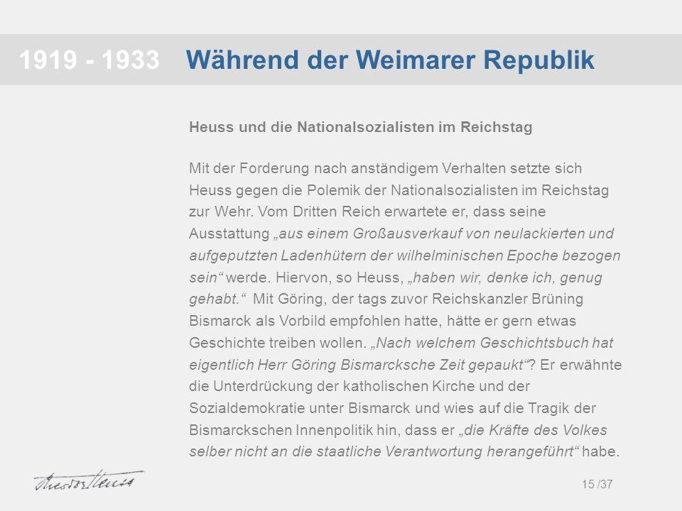 Während der Weimarer Republik1919 - 1933 Mit der Forderung nach anständigem Verhalten setzte sich Heuss gegen die Polemik der Nationalsozialisten im R