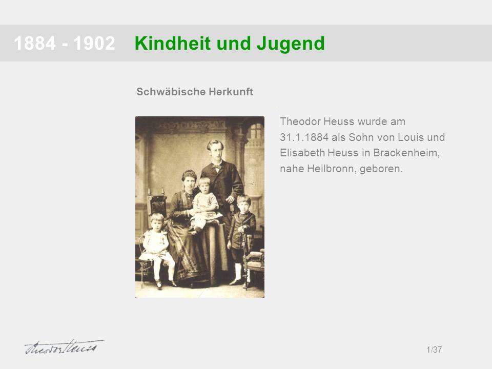 Kindheit und Jugend1884 - 1902 1/37 Schwäbische Herkunft Theodor Heuss wurde am 31.1.1884 als Sohn von Louis und Elisabeth Heuss in Brackenheim, nahe