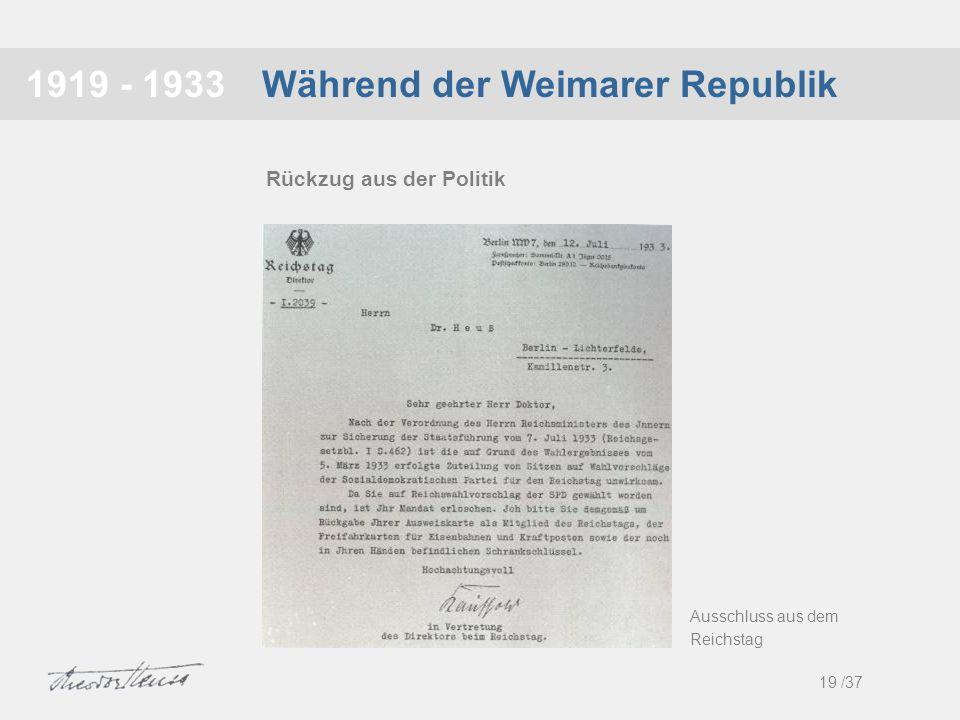 Während der Weimarer Republik1919 - 1933 19 /37 Rückzug aus der Politik Ausschluss aus dem Reichstag