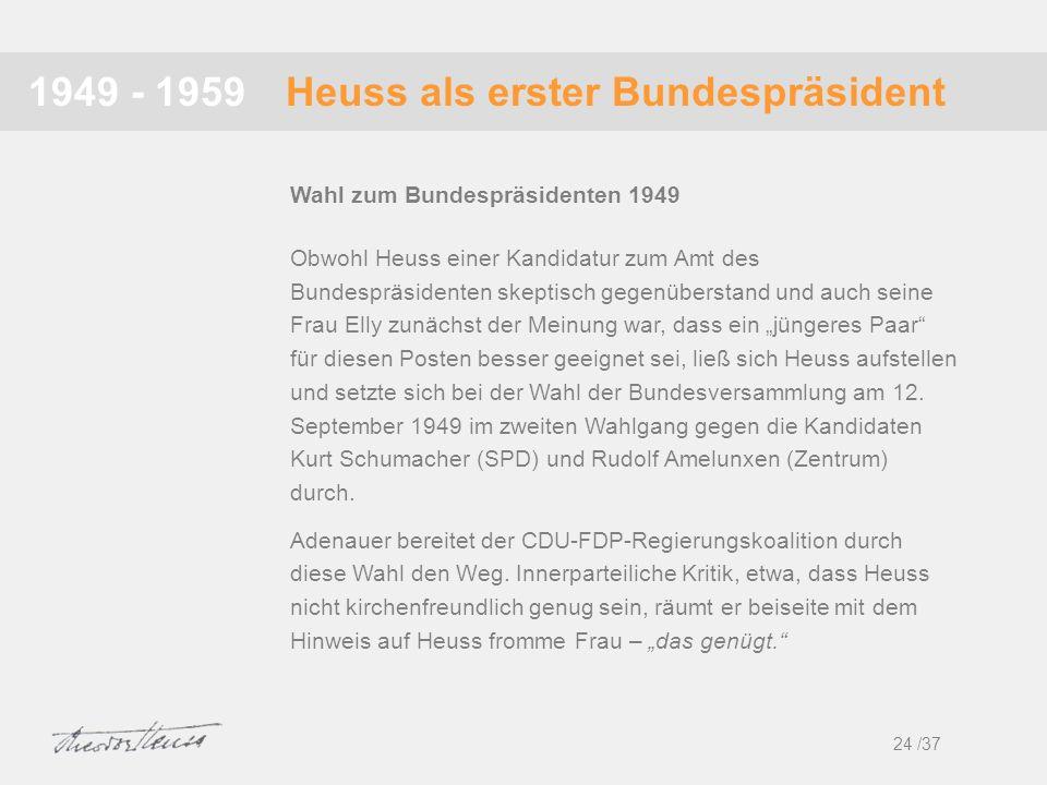 Heuss als erster Bundespräsident1949 - 1959 Obwohl Heuss einer Kandidatur zum Amt des Bundespräsidenten skeptisch gegenüberstand und auch seine Frau E