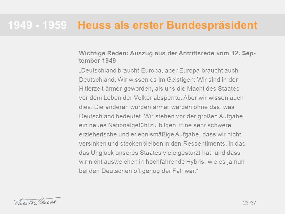 Heuss als erster Bundespräsident1949 - 1959 Deutschland braucht Europa, aber Europa braucht auch Deutschland. Wir wissen es im Geistigen: Wir sind in