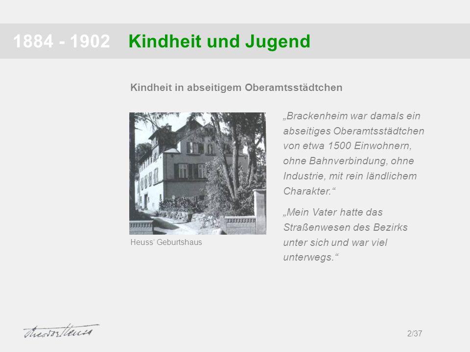 Kindheit und Jugend1884 - 1902 2/37 Kindheit in abseitigem Oberamtsstädtchen Brackenheim war damals ein abseitiges Oberamtsstädtchen von etwa 1500 Ein