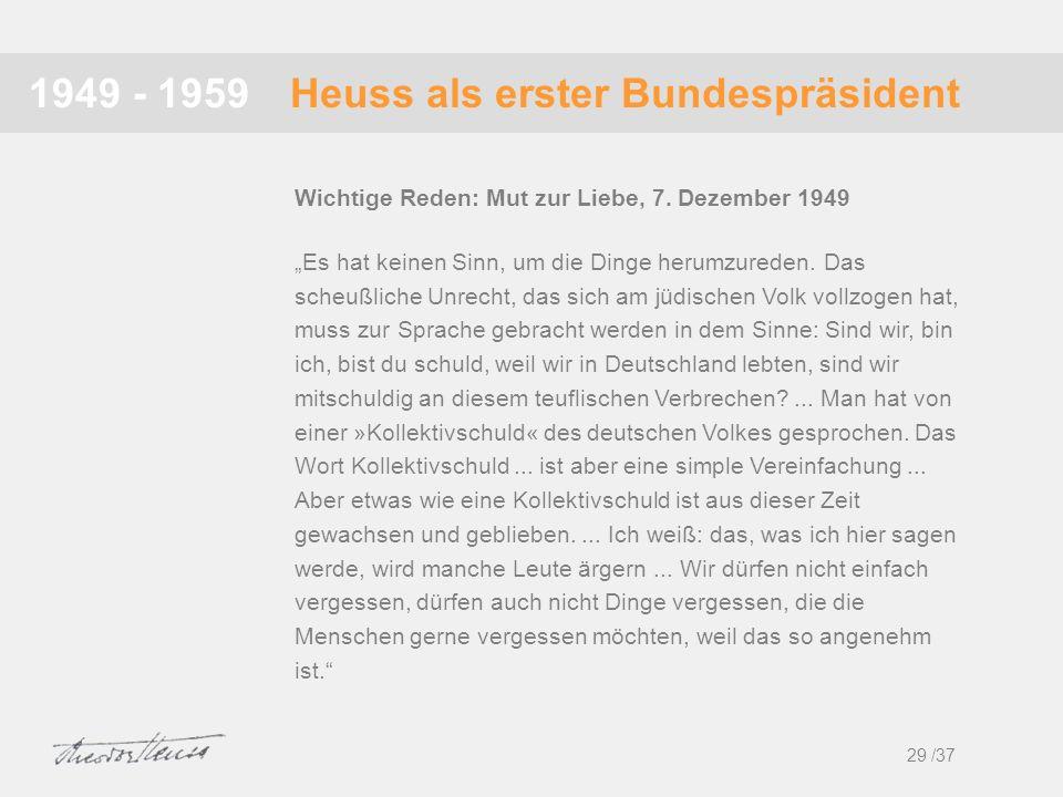 Heuss als erster Bundespräsident1949 - 1959 Es hat keinen Sinn, um die Dinge herumzureden. Das scheußliche Unrecht, das sich am jüdischen Volk vollzog