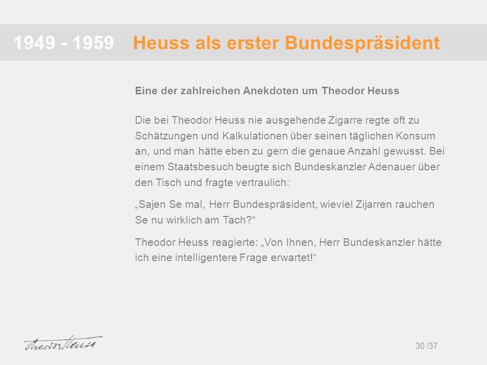 Heuss als erster Bundespräsident1949 - 1959 Die bei Theodor Heuss nie ausgehende Zigarre regte oft zu Schätzungen und Kalkulationen über seinen täglic