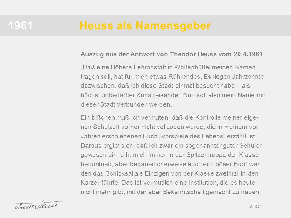 Heuss als Namensgeber1961 Daß eine Höhere Lehranstalt in Wolfenbüttel meinen Namen tragen soll, hat für mich etwas Rührendes. Es liegen Jahrzehnte daz