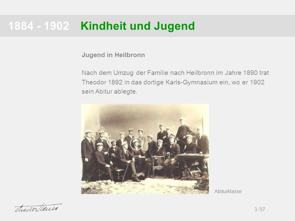 Kindheit und Jugend1884 - 1902 3 /37 Jugend in Heilbronn Nach dem Umzug der Familie nach Heilbronn im Jahre 1890 trat Theodor 1892 in das dortige Karl
