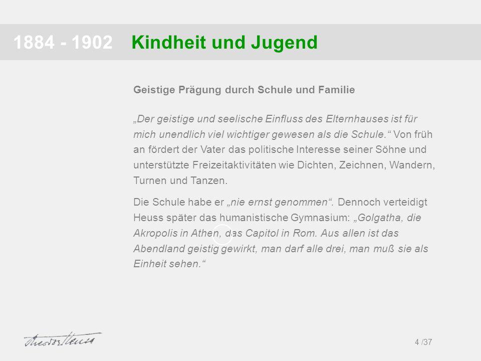 Kindheit und Jugend1884 - 1902 4 /37 Geistige Prägung durch Schule und Familie Der geistige und seelische Einfluss des Elternhauses ist für mich unend