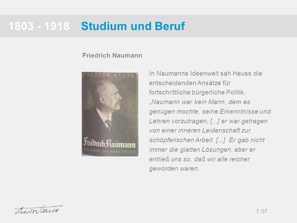 Studium und Beruf1803 - 1918 In Naumanns Ideenwelt sah Heuss die entscheidenden Ansätze für fortschrittliche bürgerliche Politik. Naumann war kein Man