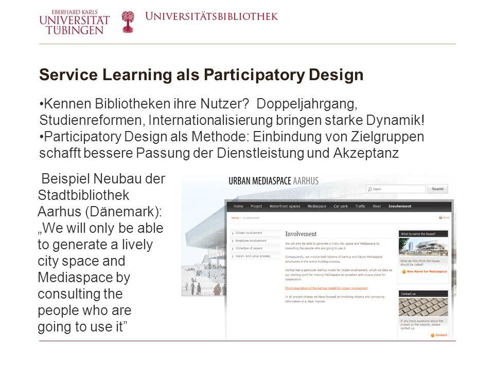 Service Learning als Participatory Design Kennen Bibliotheken ihre Nutzer.
