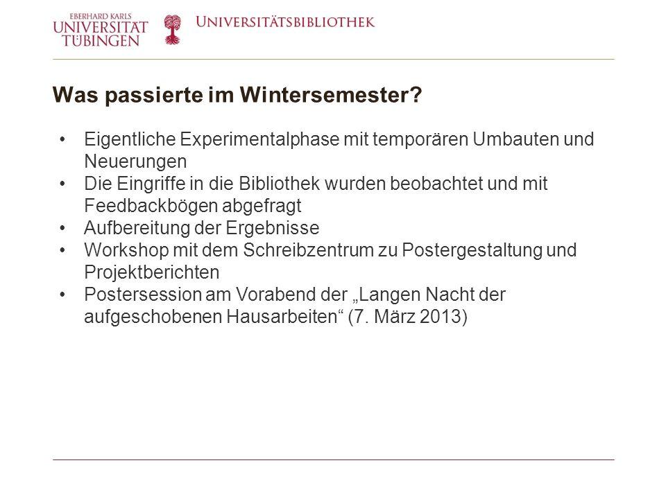 Was passierte im Wintersemester.