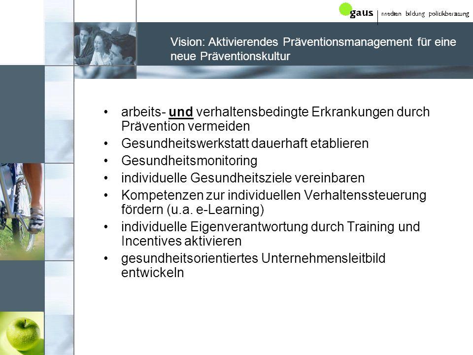 Vision: Aktivierendes Präventionsmanagement für eine neue Präventionskultur arbeits- und verhaltensbedingte Erkrankungen durch Prävention vermeiden Ge