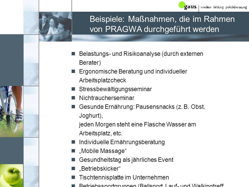 Beispiele: Maßnahmen, die im Rahmen von PRAGWA durchgeführt werden Belastungs- und Risikoanalyse (durch externen Berater) Ergonomische Beratung und in