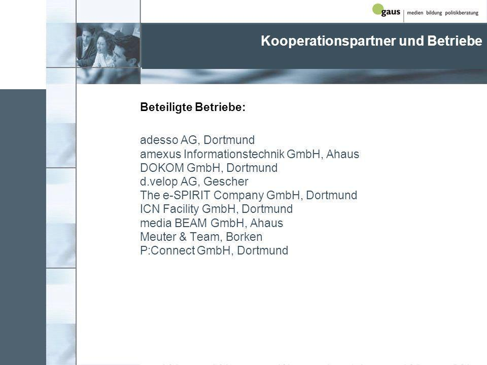 Kooperationspartner und Betriebe Beteiligte Betriebe: adesso AG, Dortmund amexus Informationstechnik GmbH, Ahaus DOKOM GmbH, Dortmund d.velop AG, Gescher The e-SPIRIT Company GmbH, Dortmund ICN Facility GmbH, Dortmund media BEAM GmbH, Ahaus Meuter & Team, Borken P:Connect GmbH, Dortmund