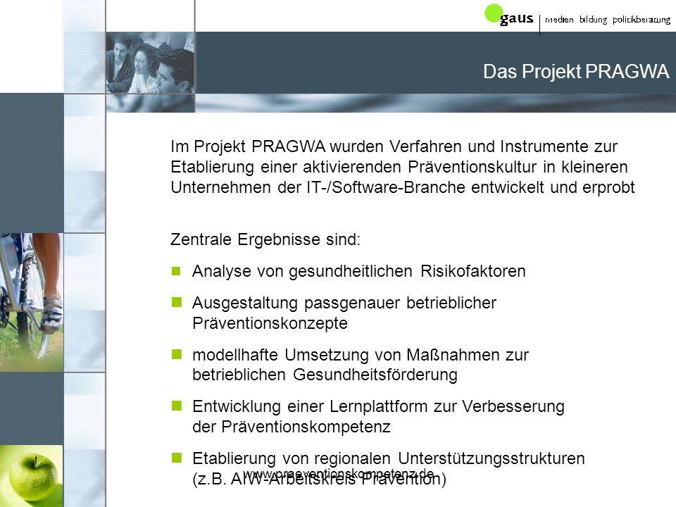 www.praeventionskompetenz.de Das Projekt PRAGWA: Vorgehensweise