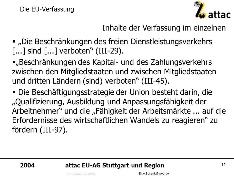 www.attac.de/eu-agwww.attac.de/eu-ag Elke.Schenk@web.de 2004attac EU-AG Stuttgart und Region 11 Die EU-Verfassung Die Beschränkungen des freien Dienst
