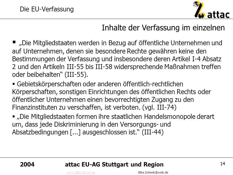www.attac.de/eu-agwww.attac.de/eu-ag Elke.Schenk@web.de 2004attac EU-AG Stuttgart und Region 14 Die EU-Verfassung Die Mitgliedstaaten werden in Bezug