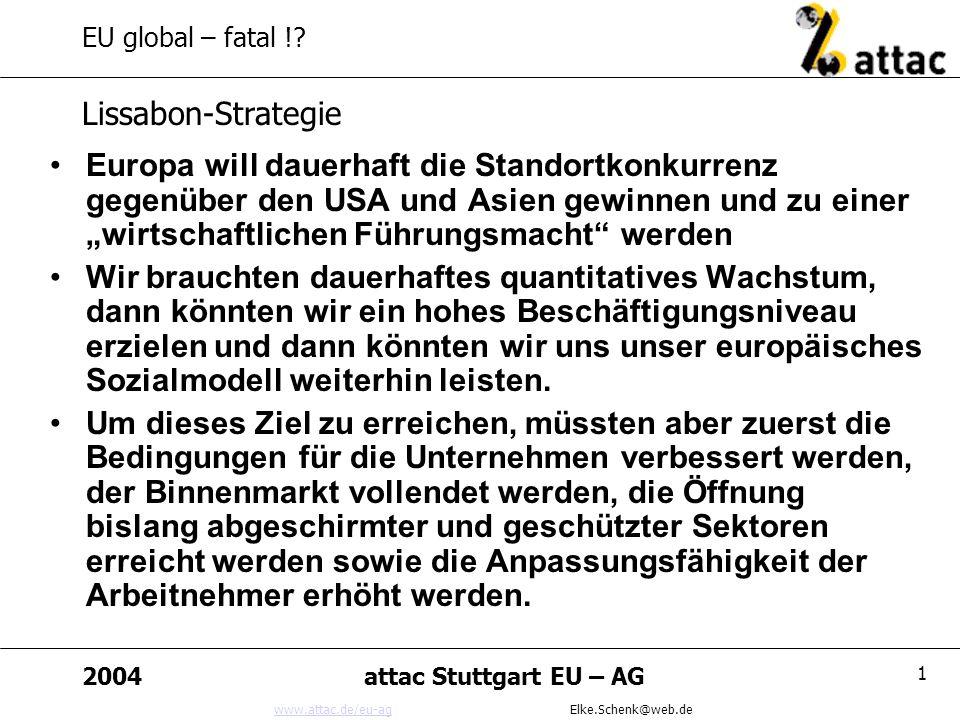www.attac.de/eu-agwww.attac.de/eu-ag Elke.Schenk@web.de 2004attac Stuttgart EU – AG 12 EU global – fatal !.