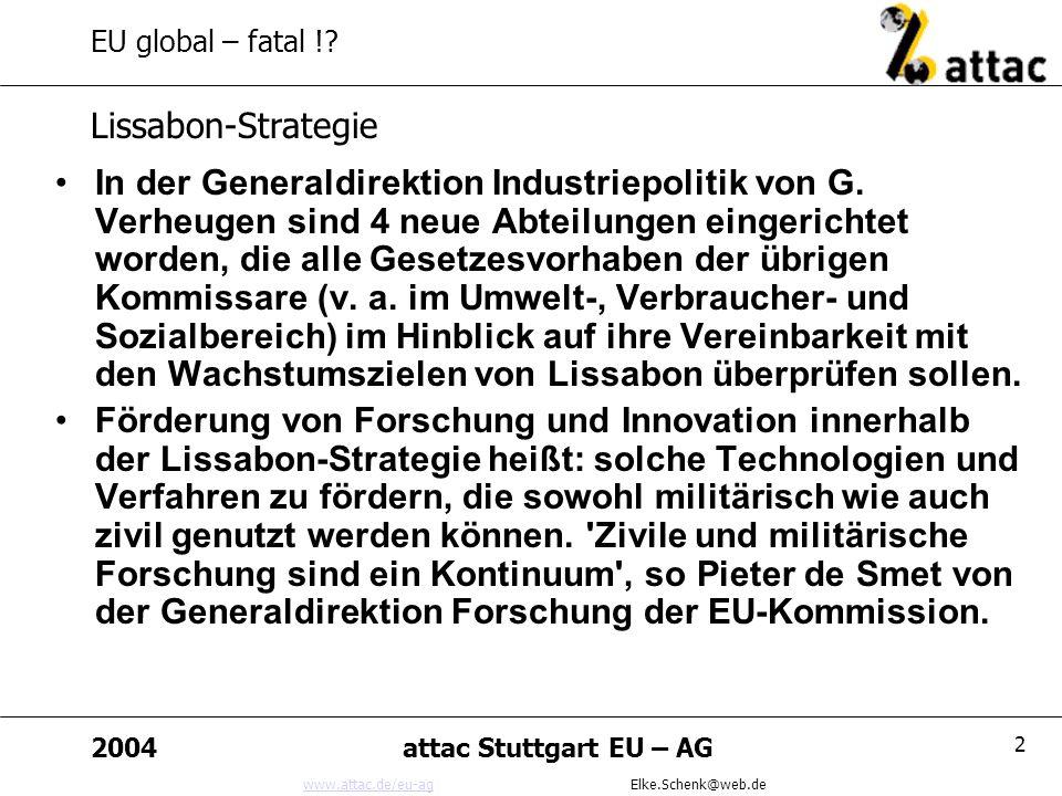 www.attac.de/eu-agwww.attac.de/eu-ag Elke.Schenk@web.de 2004attac Stuttgart EU – AG 13 EU global – fatal !.