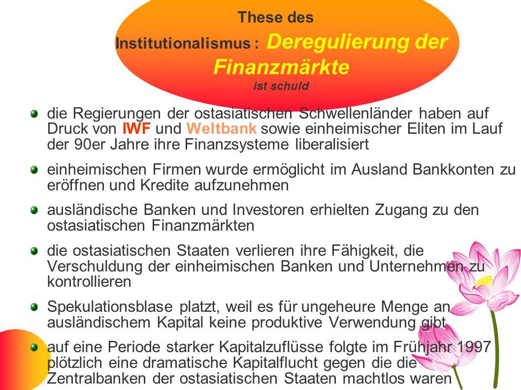 These des Institutionalismus : Deregulierung der Finanzmärkte ist schuld die Regierungen der ostasiatischen Schwellenländer haben auf Druck von IWF un