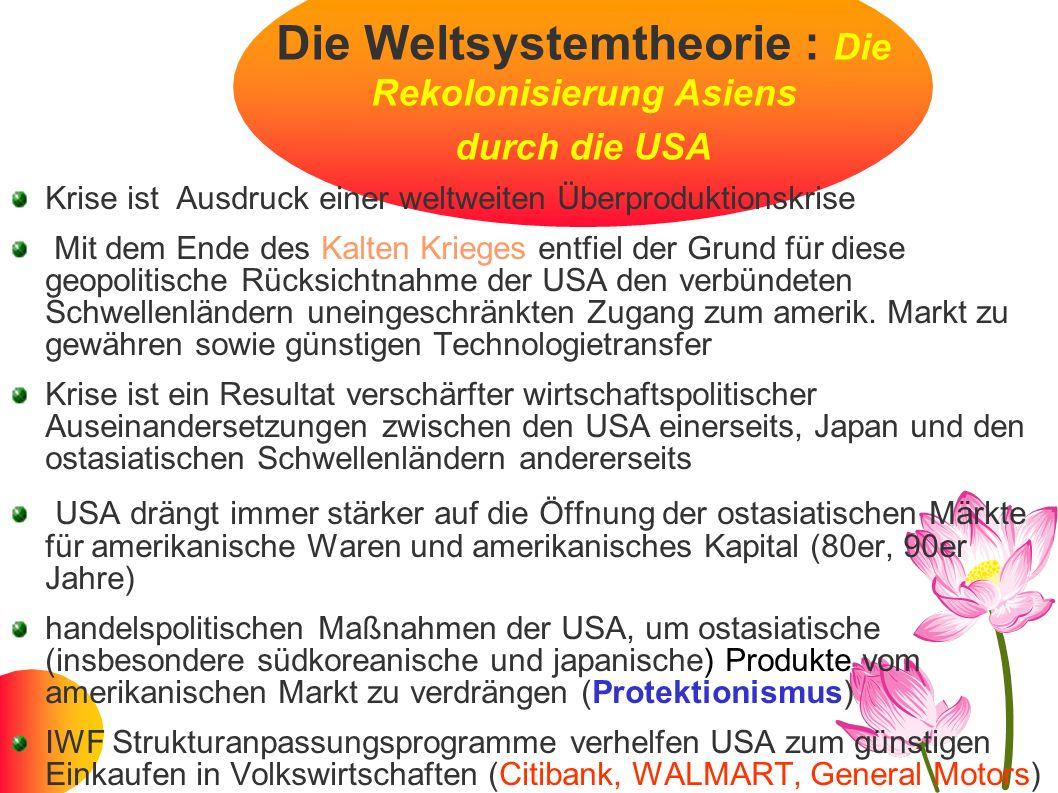 Die Weltsystemtheorie : Die Rekolonisierung Asiens durch die USA Krise ist Ausdruck einer weltweiten Überproduktionskrise Mit dem Ende des Kalten Krie