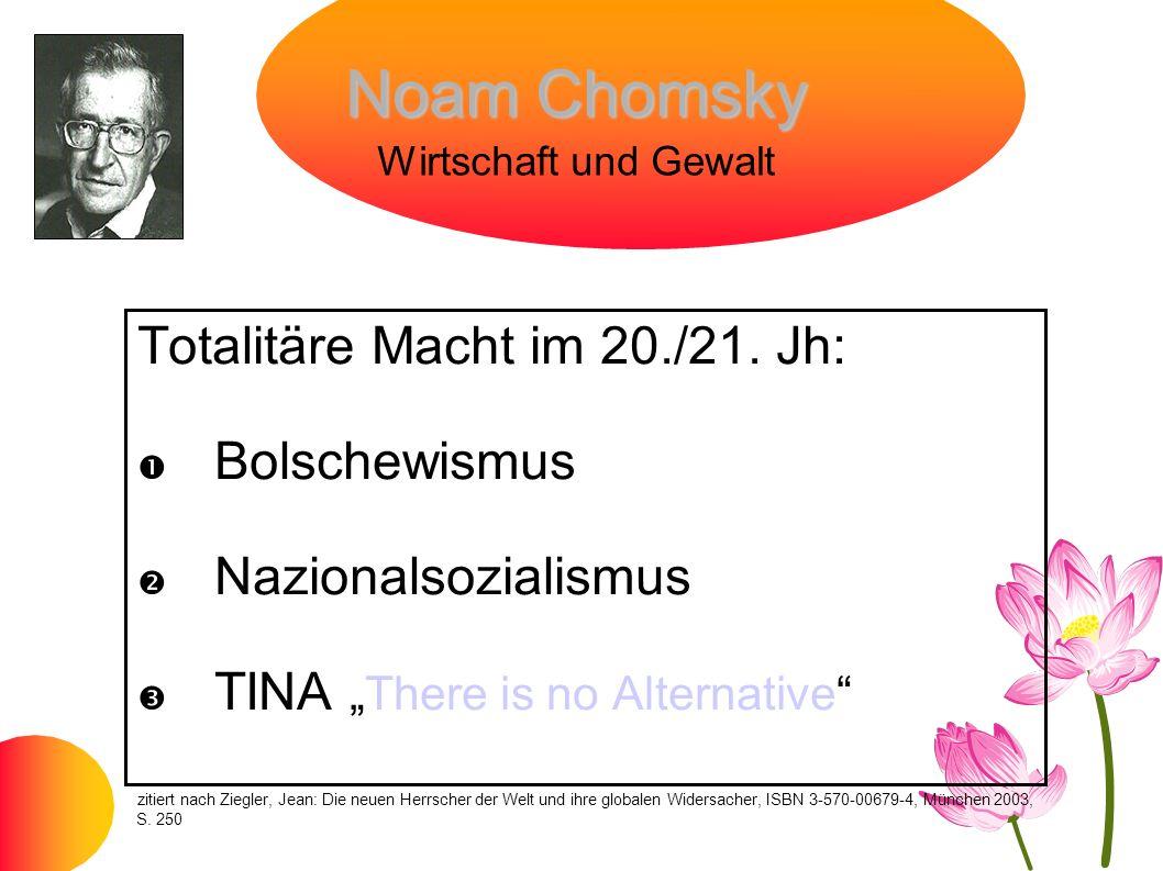 Noam Chomsky Noam Chomsky Wirtschaft und Gewalt Totalitäre Macht im 20./21. Jh: Bolschewismus Nazionalsozialismus TINAThere is no Alternative zitiert