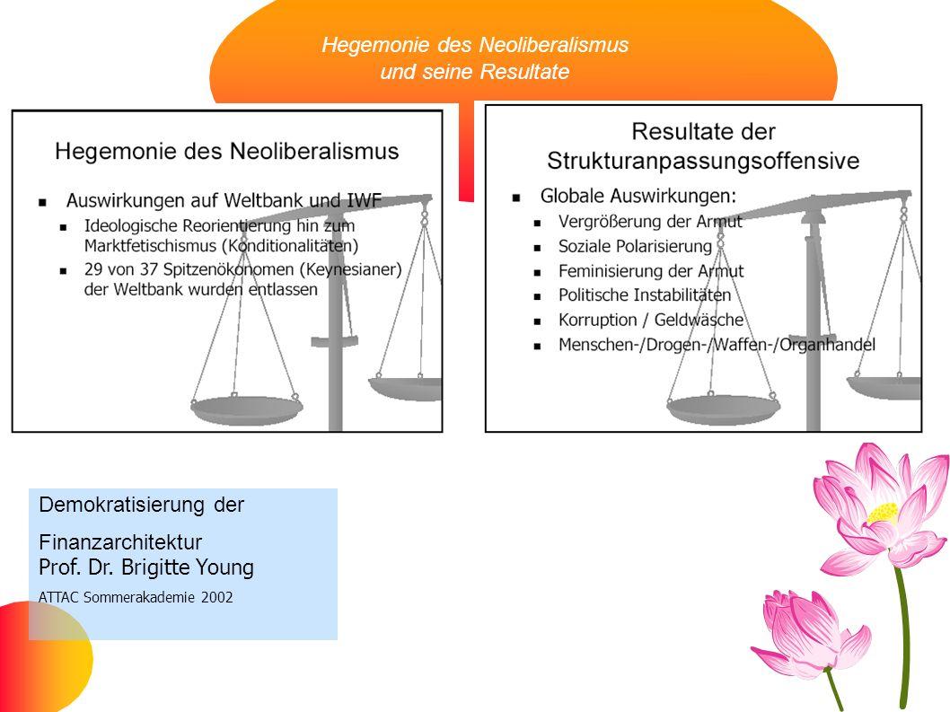 Hegemonie des Neoliberalismus und seine Resultate Demokratisierung der Finanzarchitektur Prof. Dr. Brigitte Young ATTAC Sommerakademie 2002