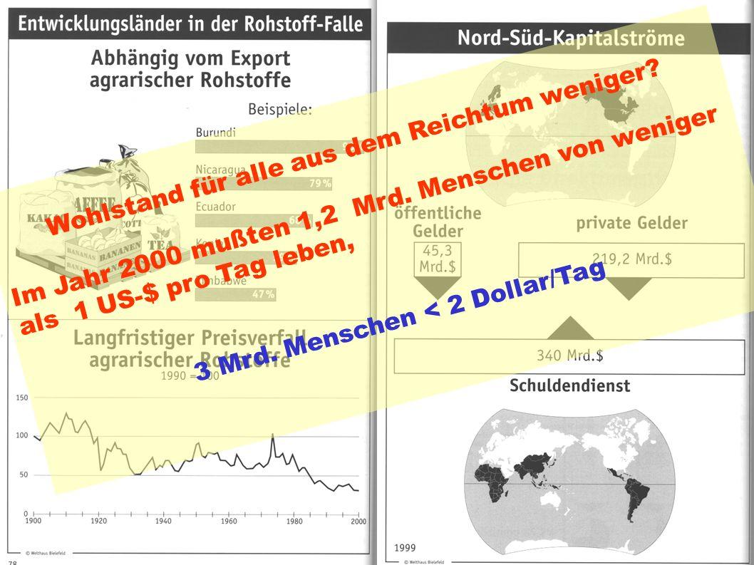 Indices des Weltungleichgewichts Wohlstand für alle aus dem Reichtum weniger? Im Jahr 2000 mußten 1,2 Mrd. Menschen von weniger als 1 US-$ pro Tag leb
