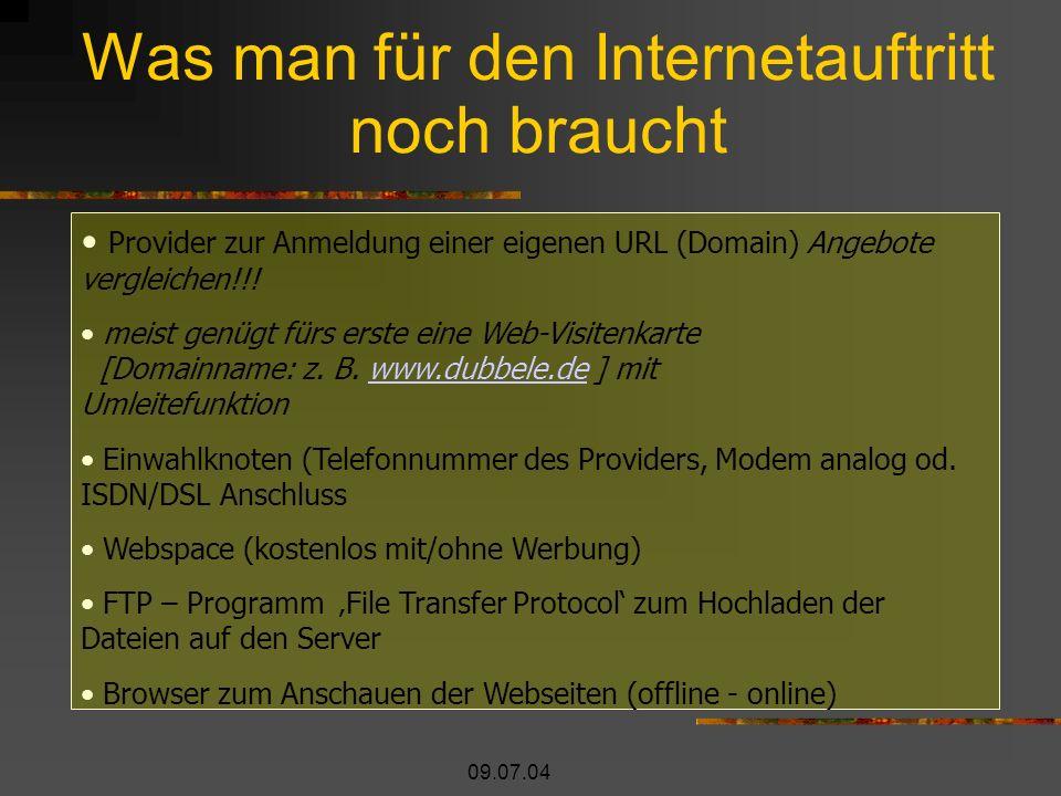 09.07.04 Was man für den Internetauftritt noch braucht Provider zur Anmeldung einer eigenen URL (Domain) Angebote vergleichen!!.