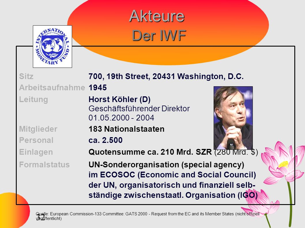 32 Quelle: European Commission-133 Committee: GATS 2000 - Request from the EC and its Member States (nicht offiziell veröffentlicht) Akteure Der IWF S