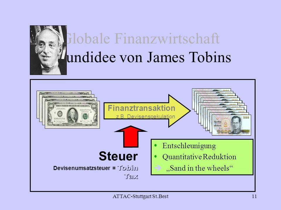ATTAC-Stuttgart St.Best11 Entschleunigung Quantitative Reduktion è Sand in the wheels Tobin Tax Steuer Devisenumsatzsteuer = Tobin Tax Globale Finanzw