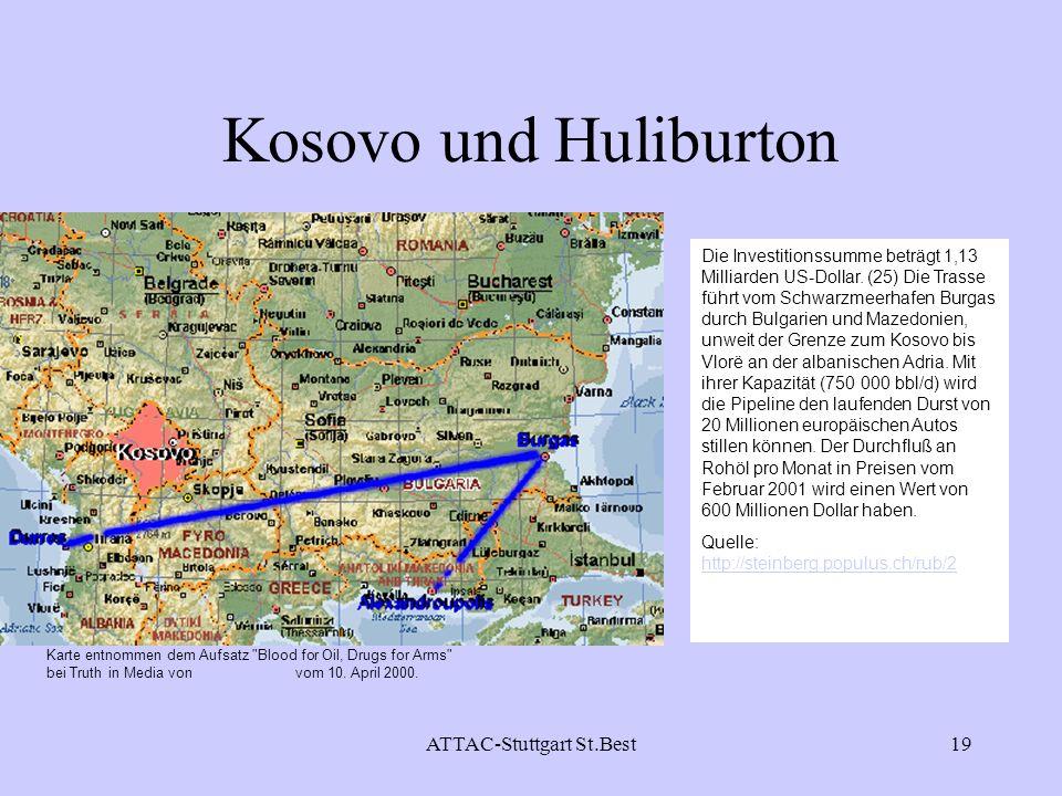 ATTAC-Stuttgart St.Best19 Kosovo und Huliburton Die Investitionssumme beträgt 1,13 Milliarden US-Dollar. (25) Die Trasse führt vom Schwarzmeerhafen Bu