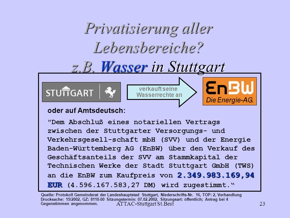 ATTAC-Stuttgart St.Best23 Privatisierung aller Lebensbereiche? z.B. Wasser in Stuttgart oder auf Amtsdeutsch: 2.349.983.169,94 EUR