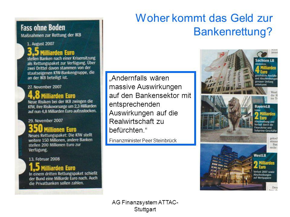 AG Finanzsystem ATTAC- Stuttgart Woher kommt das Geld zur Bankenrettung? Andernfalls wären massive Auswirkungen auf den Bankensektor mit entsprechende