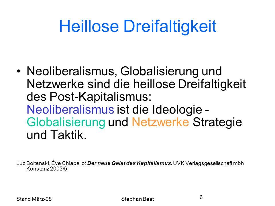 Stand März-08Stephan Best 6 Heillose Dreifaltigkeit Neoliberalismus, Globalisierung und Netzwerke sind die heillose Dreifaltigkeit des Post-Kapitalismus: Neoliberalismus ist die Ideologie - Globalisierung und Netzwerke Strategie und Taktik.