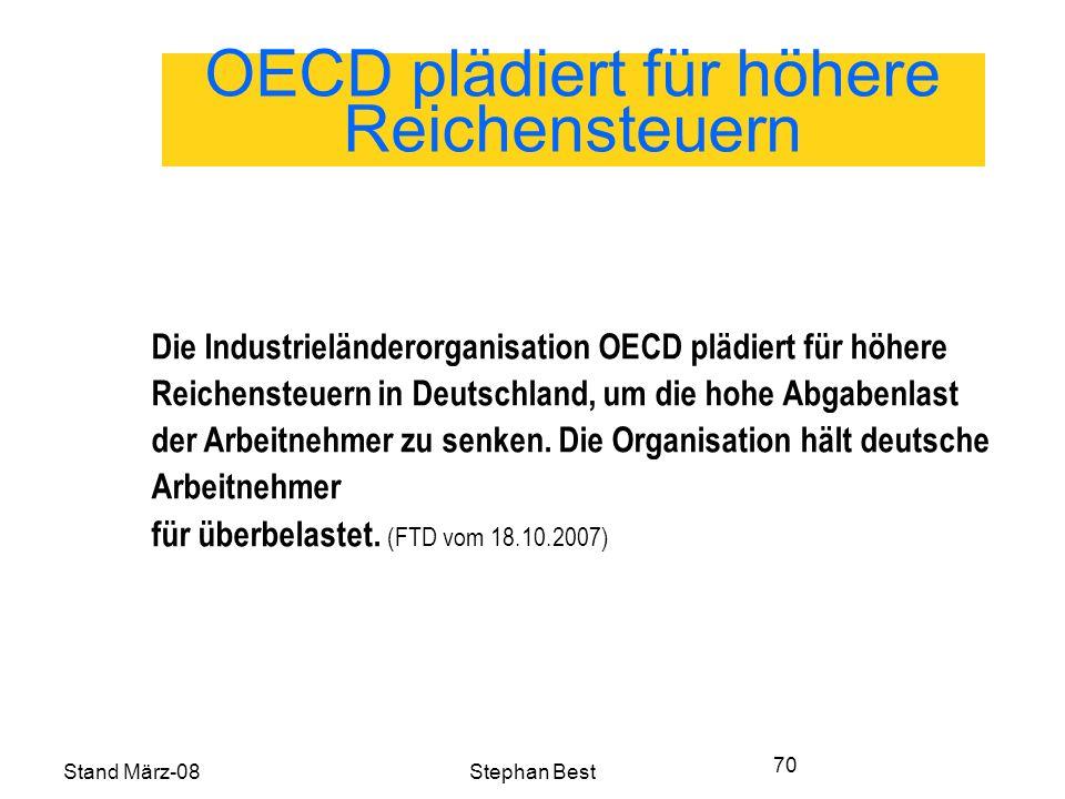 Stand März-08Stephan Best 70 OECD plädiert für höhere Reichensteuern Die Industrieländerorganisation OECD plädiert für höhere Reichensteuern in Deutschland, um die hohe Abgabenlast der Arbeitnehmer zu senken.
