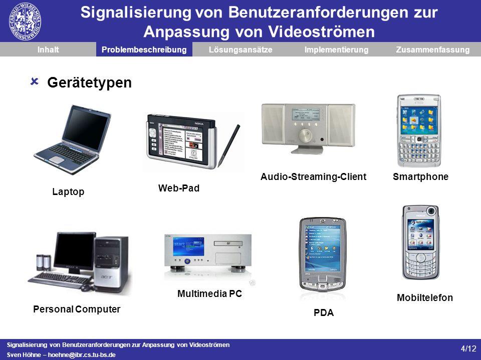 Signalisierung von Benutzeranforderungen zur Anpassung von Videoströmen Sven Höhne – hoehne@ibr.cs.tu-bs.de 4/12 Signalisierung von Benutzeranforderun