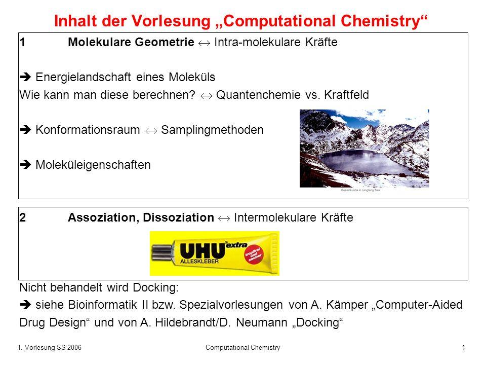 1. Vorlesung SS 2006 Computational Chemistry1 Inhalt der Vorlesung Computational Chemistry 1 Molekulare Geometrie Intra-molekulare Kräfte Energielands