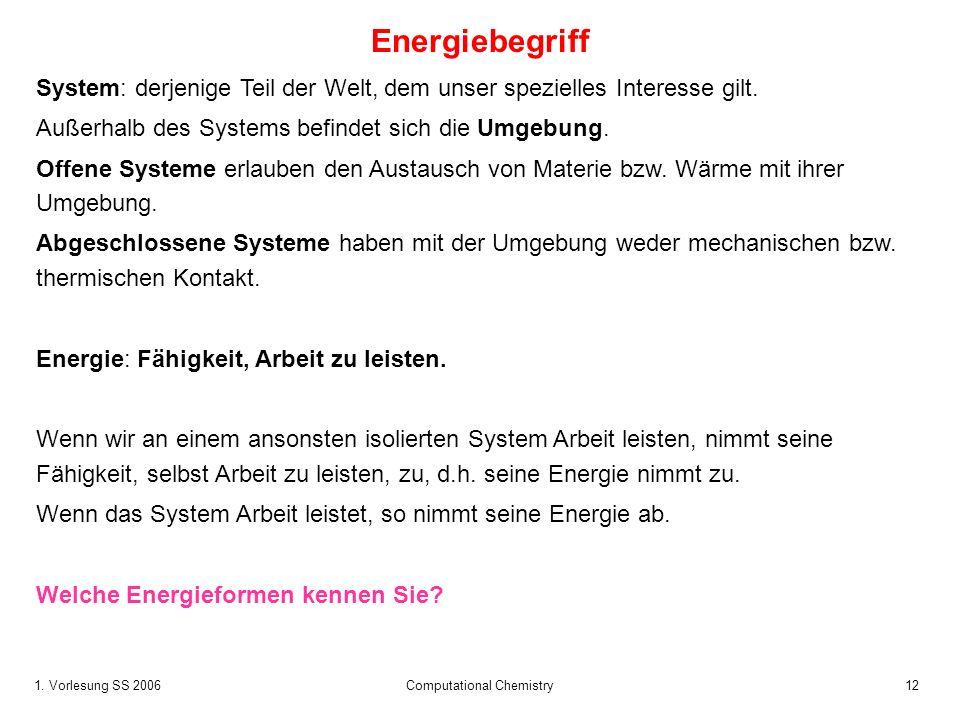 1. Vorlesung SS 2006 Computational Chemistry12 Energiebegriff System: derjenige Teil der Welt, dem unser spezielles Interesse gilt. Außerhalb des Syst
